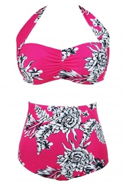 8fc2e26eaa5 Rosy Floral Print Vintage Ruched Top High Waist Plus Size Swimsuit Bikini  2X-3X  Unbranded  Bikini