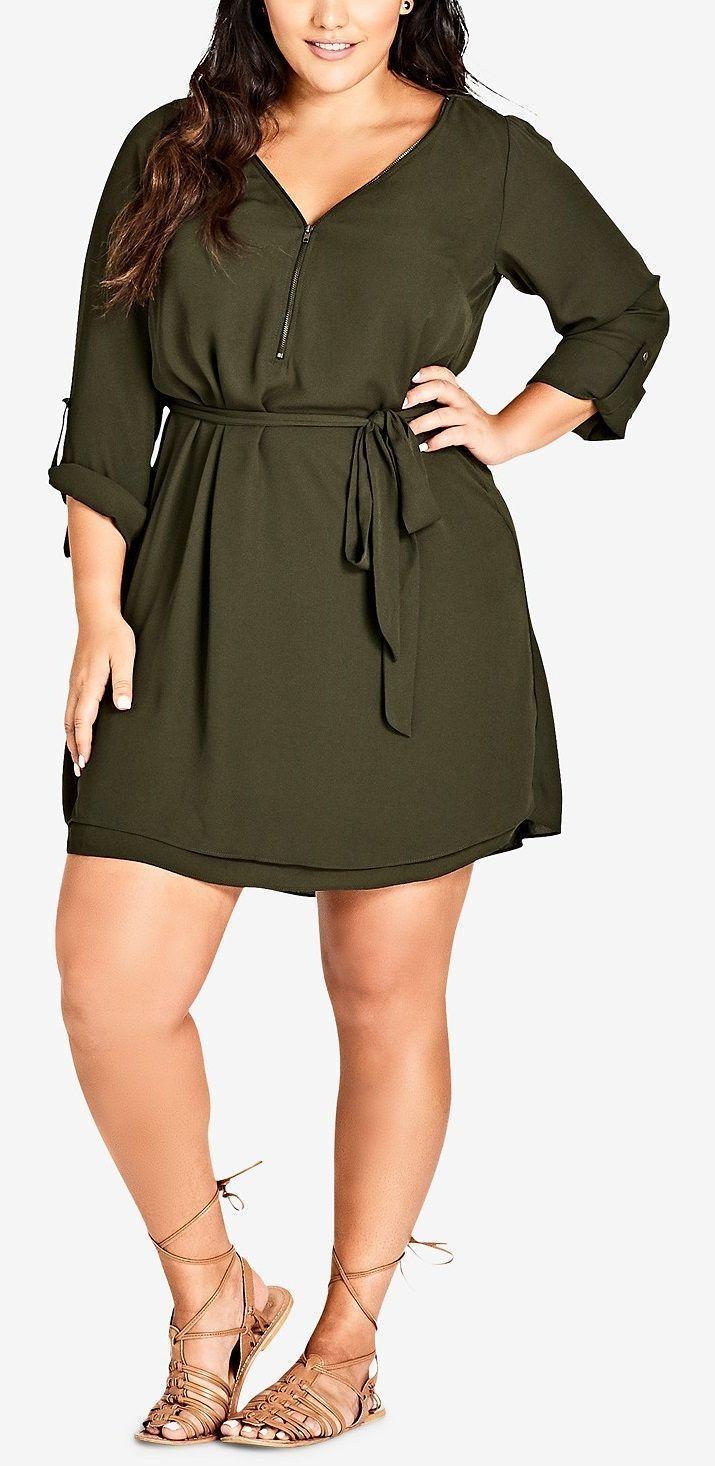 Plus Size Zip Front Tunic Dress Plussize Plus Size Fashion