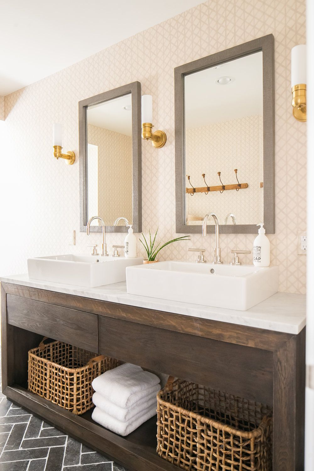 Modern Farmhouse Bathroom Idea With Wood Framed His And Her Mirrors Above Vessel Trough S Reclaimed Wood Bathroom Vanity Wood Bathroom Vanity Bathrooms Remodel