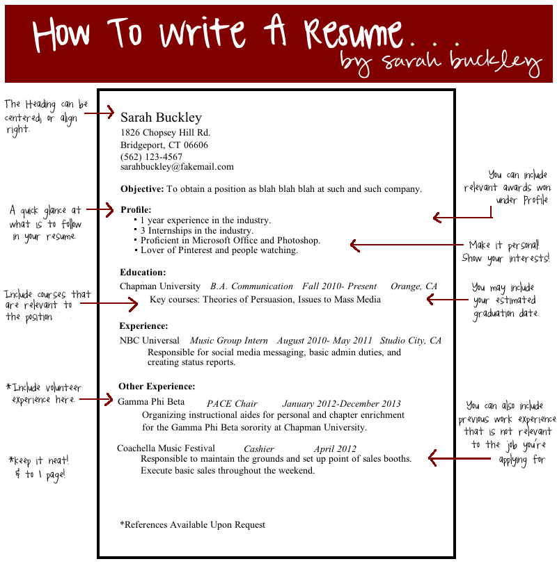 How To Write A Resume Little Cheat Sheet :) Simple Template To Creating A  Resume