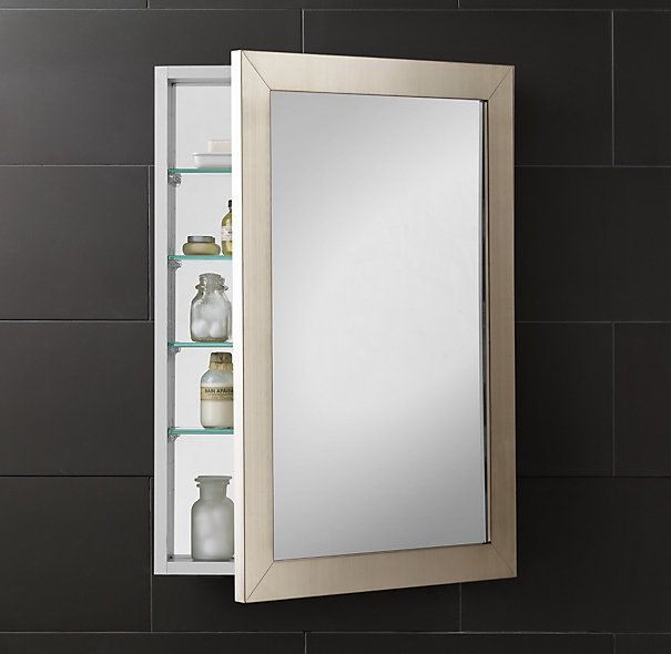 Wide-Frame Medicine Cabinet, RECESSED, 24x34, $735 | Bathroom ...