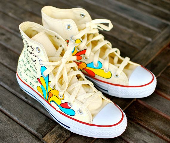 Hand Painted Yellow Submarine Beatles Hi Top White by
