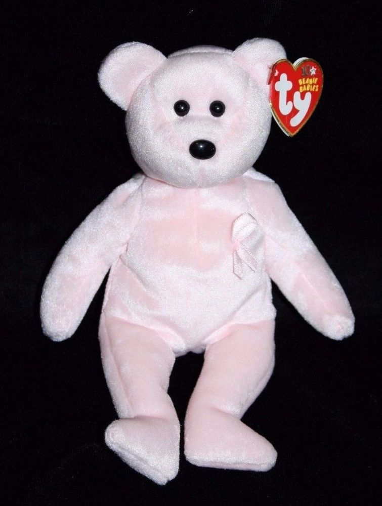 42222206292 TY Beanie Baby CURE Pink Breast Cancer Awareness TEDDY BEAR 2003 Plush  Stuffed  Ty