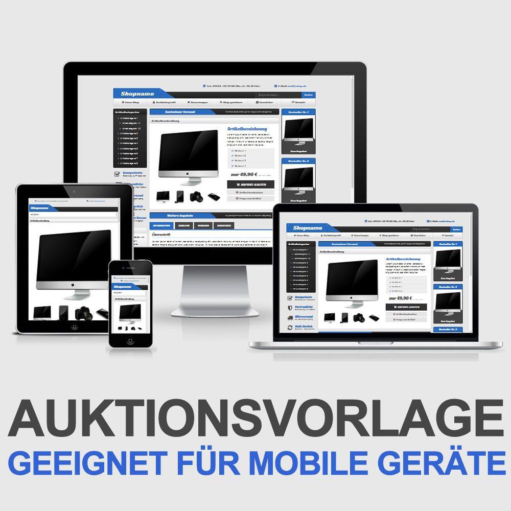 eBay Auktionsvorlage Clever Blau Responsive Design HTML Template ...