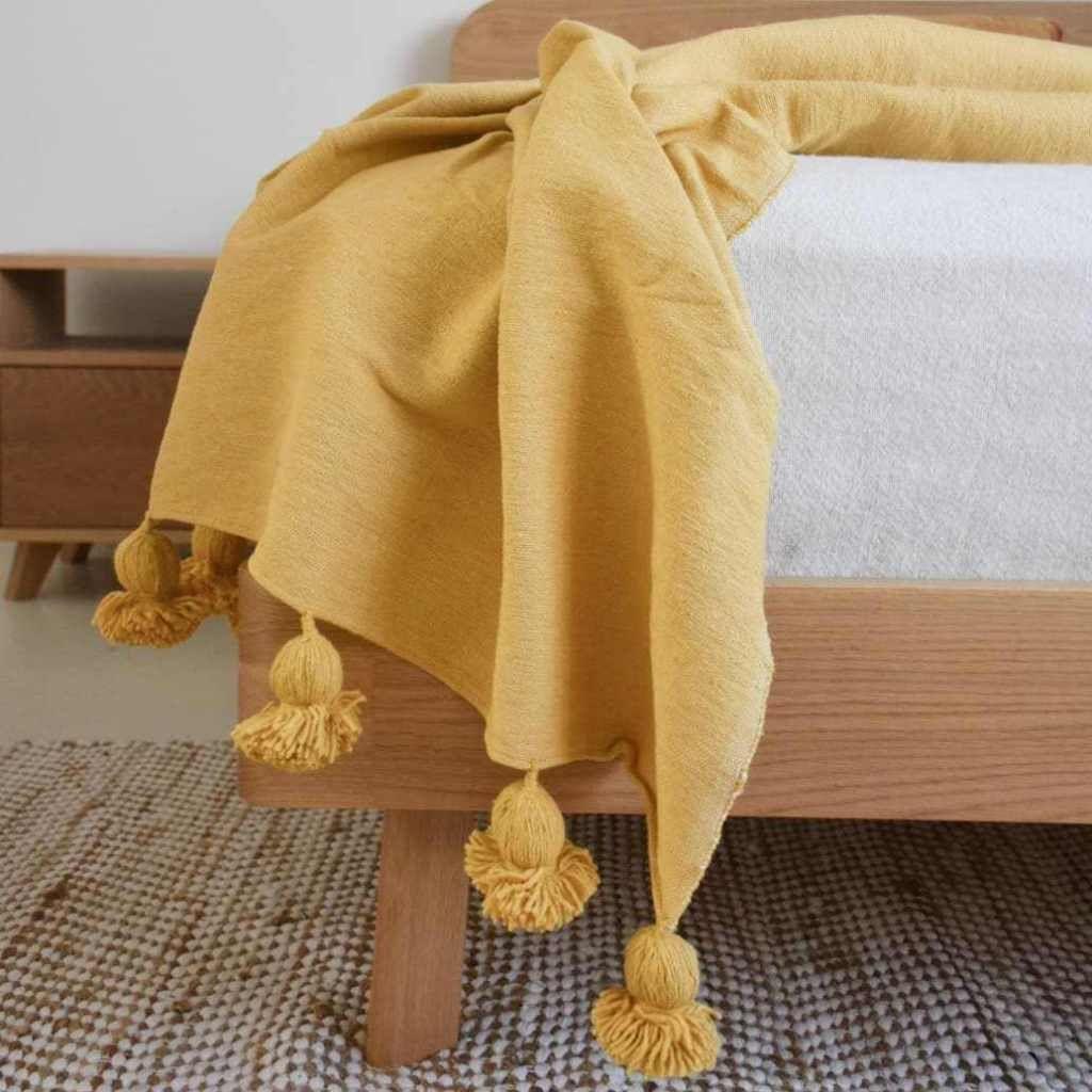 Moroccan Handwoven Cotton Pom Pom Throw Mustard Moroccan Cotton Pom Pom Throw Pom Pom Blanket