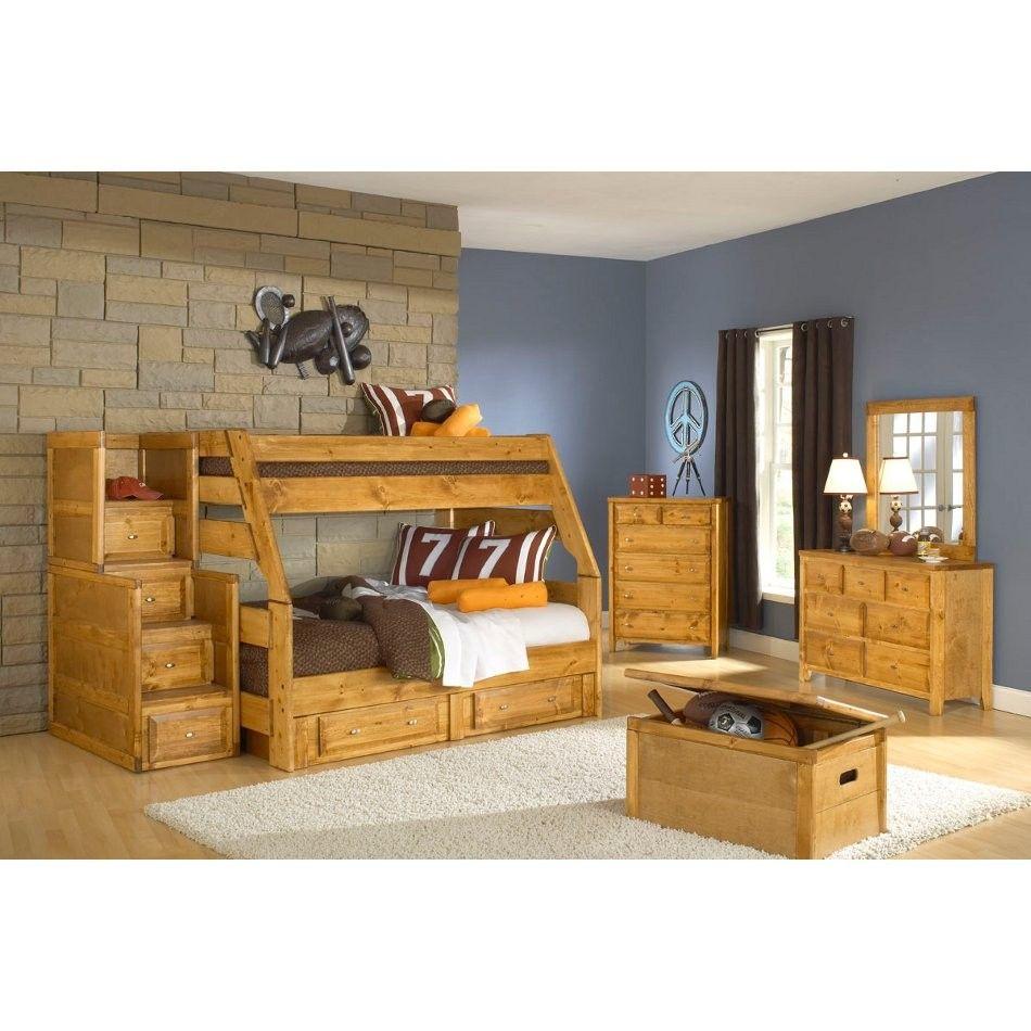 Trendwood Inc Visions Bunk Bed Stairway Chest Solid