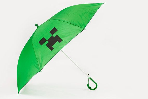 Creeper Face Umbrella Brilliant Green With By Frivolousfun