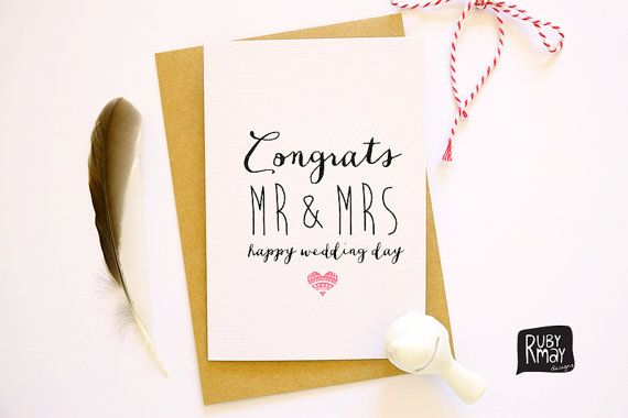 Happy Wedding Day Card Congratulations Mr And Mrs Congrats