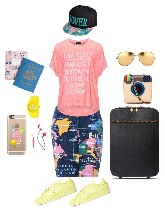 Travel style by anna17682 on Polyvore featuring moda, Replace, Love Moschino, STELLA McCARTNEY, MUA MUA, adidas, Linda Farrow, Casetify, Merkury Innovations and Rifle Paper Co