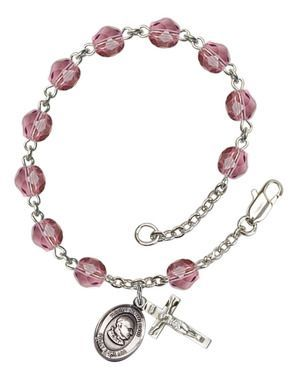 St. John XXIII Silver-Plated Rosary Bracelet with 6mm Amethyst Fire Polished beads