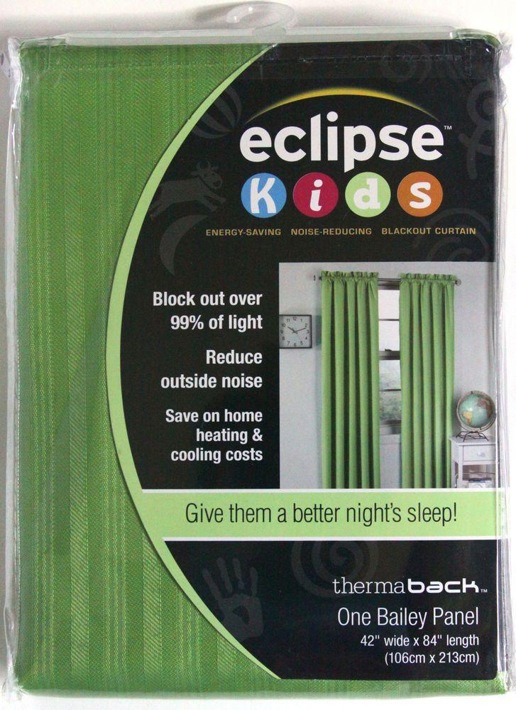 1 Bailey Panel 42 X 84 Eclipse Kids Green Blackout Curtain