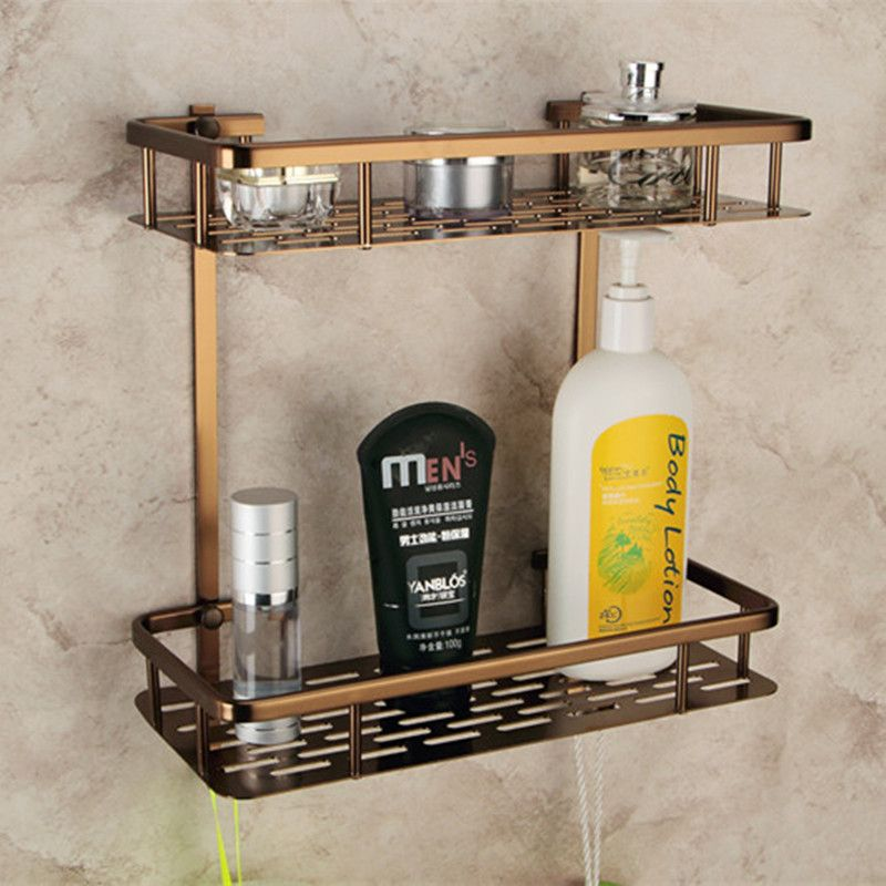 Europe Antique Bathroom Shelves Double Layer Towel Rack Space ...