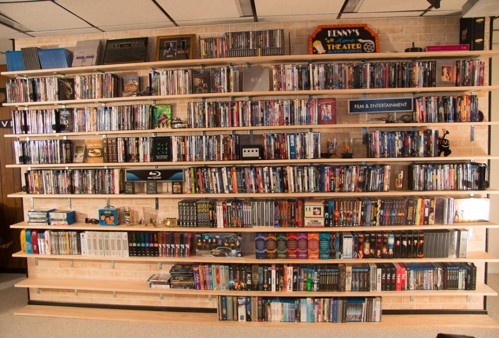 DIY DVD Shelves for Large Collection - Shelves Filled | SuperNoVAwife