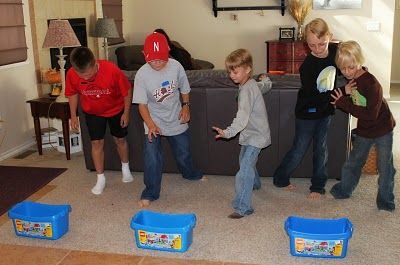 Moore Minutes: LEGO: Build a Birthday, relay building races.  This post has some great - real life party pics!!!