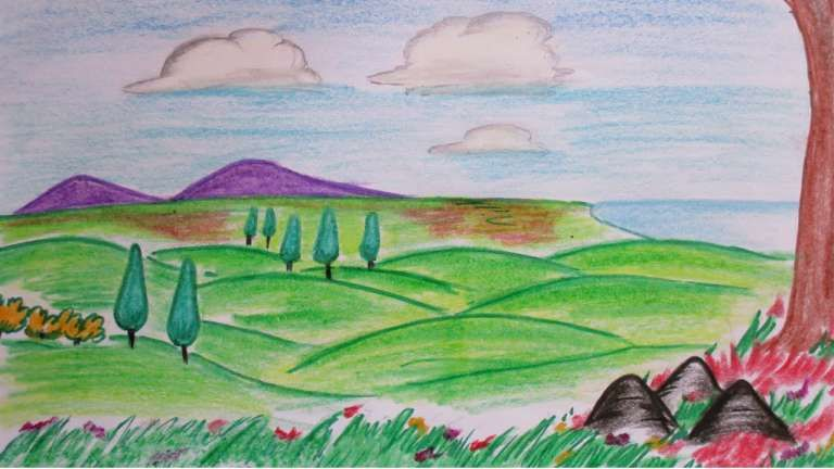 16 Hill Landscape Drawing Scenery Drawing Drawingpencilwiki Com Drawing Scenery Landscape Drawings Landscape Sketch