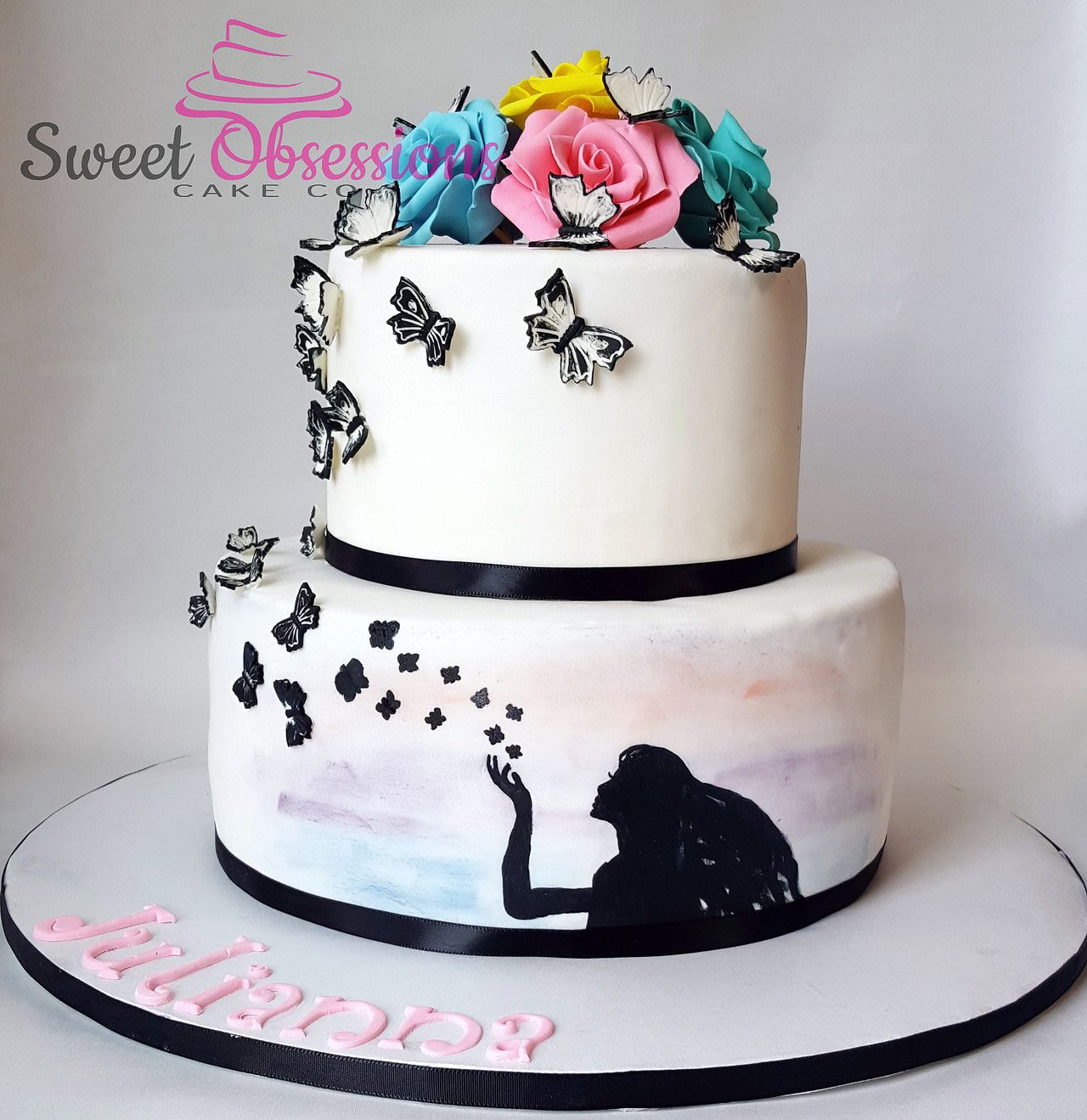 Butterfly Kisses Cake With Hand Painted Silhouette Sweet