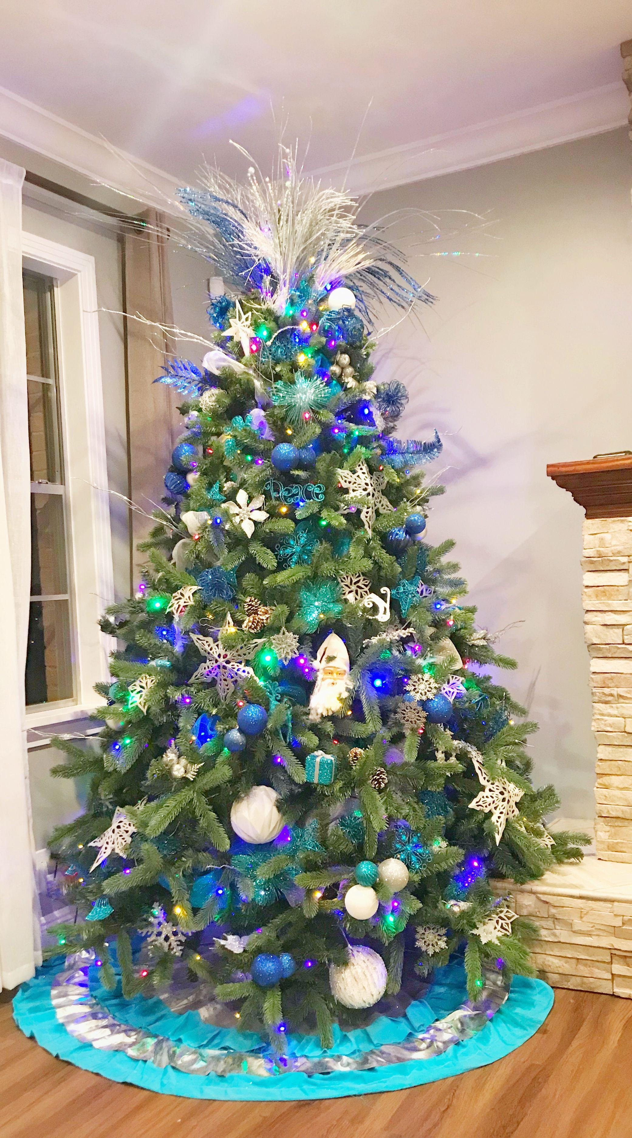 Christmas Tree Christmas Decor Silver Blue And White Peacock Christmas Tree Christmas Tree Decorations Peacock Christmas