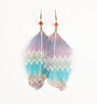 With Love From CA Multi Stripe Feather Earrings - PacSun.com