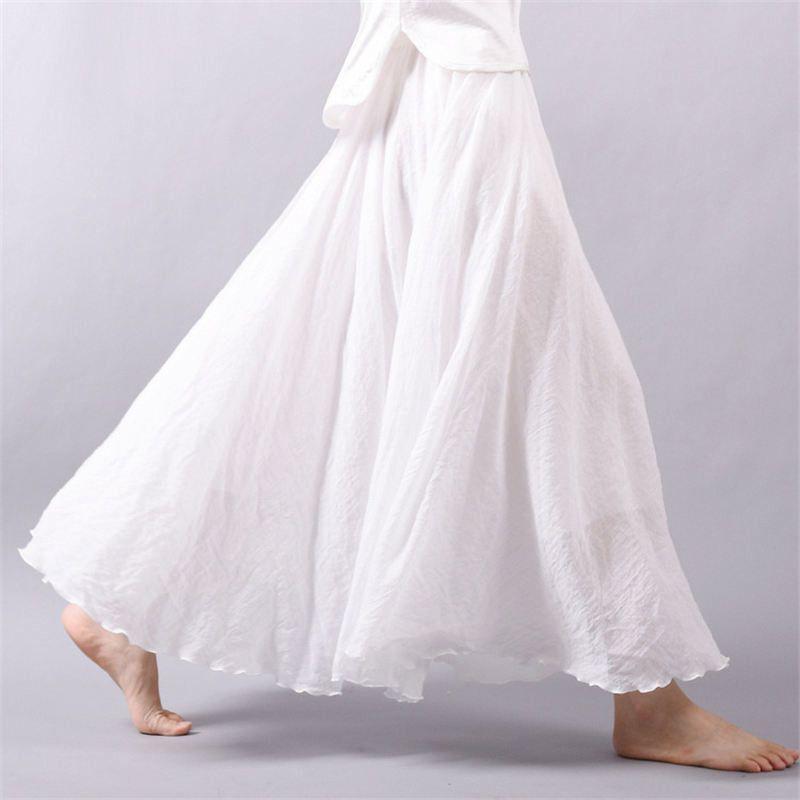 Vintage Bohemia Cotton Linen Pleated Women Boho Floor Length Long
