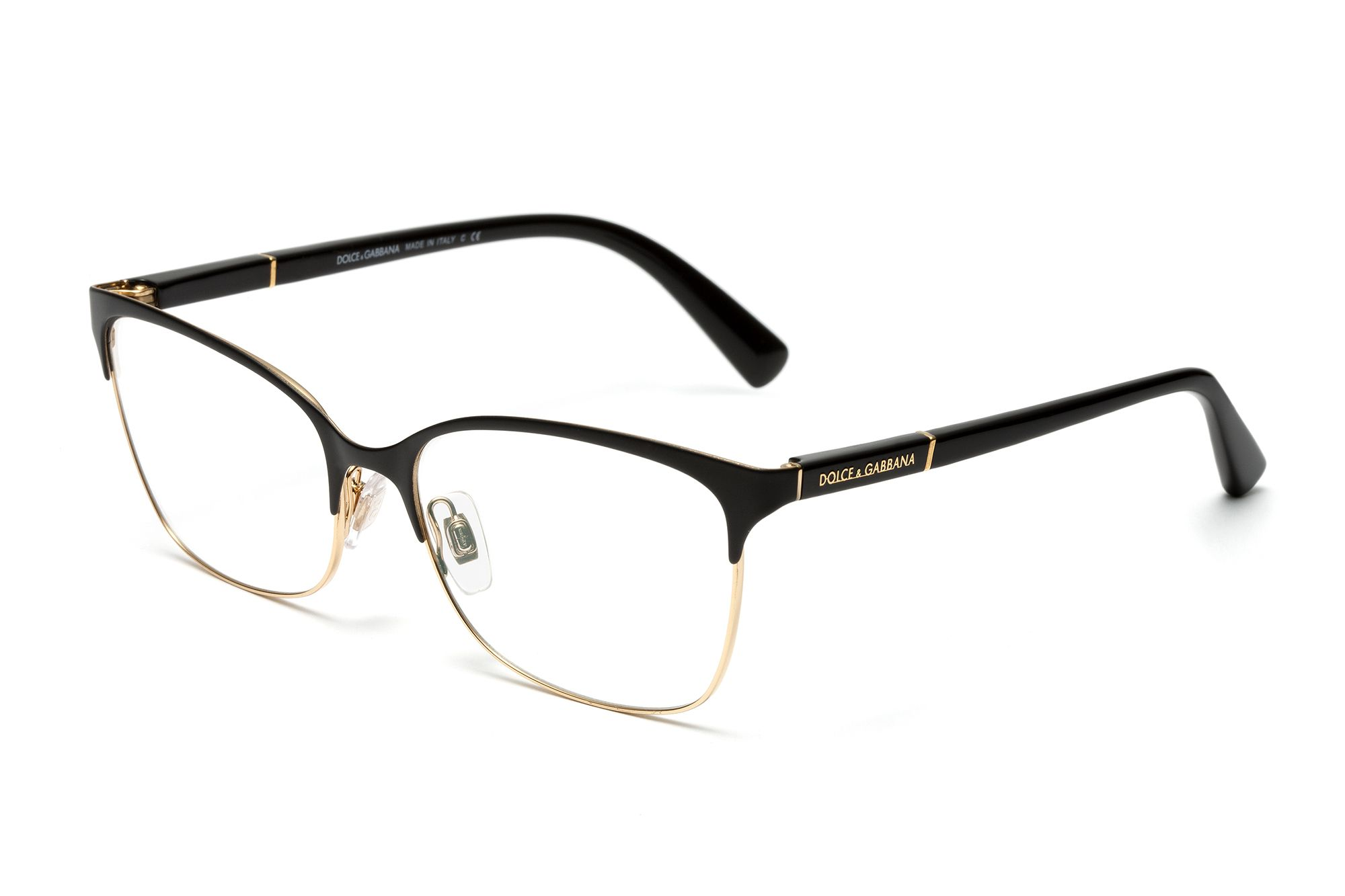 f850d83e630d Women's gold and matte black metal eyeglasses dg1268 with square frame and  Dolce & Gabbana logo on the temples. Visit D&G Eyewear website for more  details.