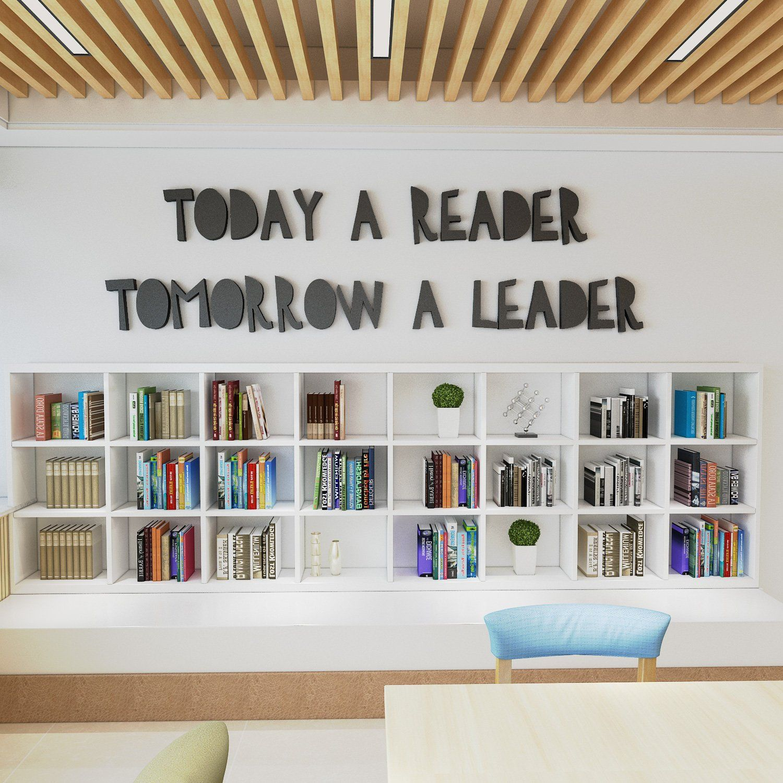 Today a reader, tomorrow a Leader , classroom decor , School teacher motivation, classroom school library sign - SKU:CLA3