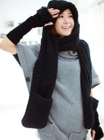 a76dbf681e0 Women Woolen Thick Long Scarf Neckerchief Glove Hat