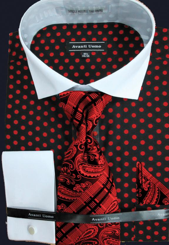 Avanti Uomo Men 39 S French Cuff Dress Shirt Set In 100