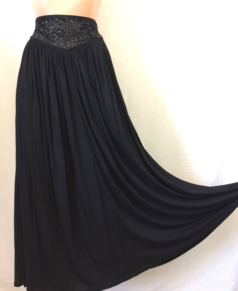 2770a6d24 Black Sequin Beaded High Waist Gypsy Maxi Skirt Vtg PASSPORTS Pier 1 Import  Boho | eBay