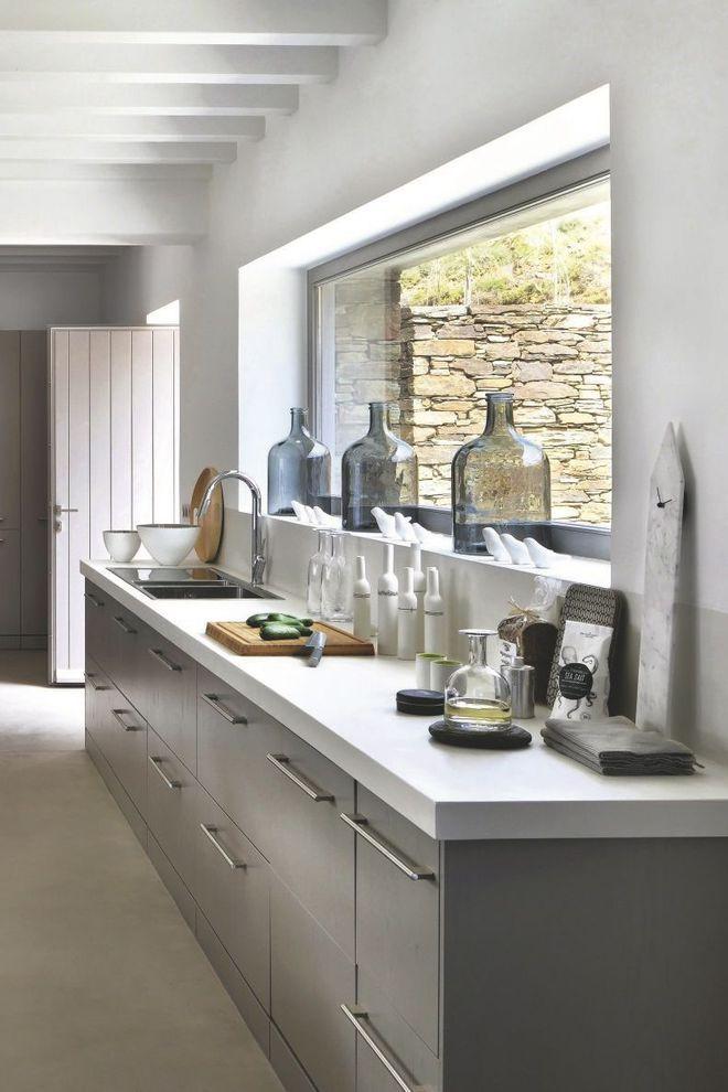 La cuisine conviviale et design Art deco Pinterest Art deco - cuisine blanc laque plan travail bois