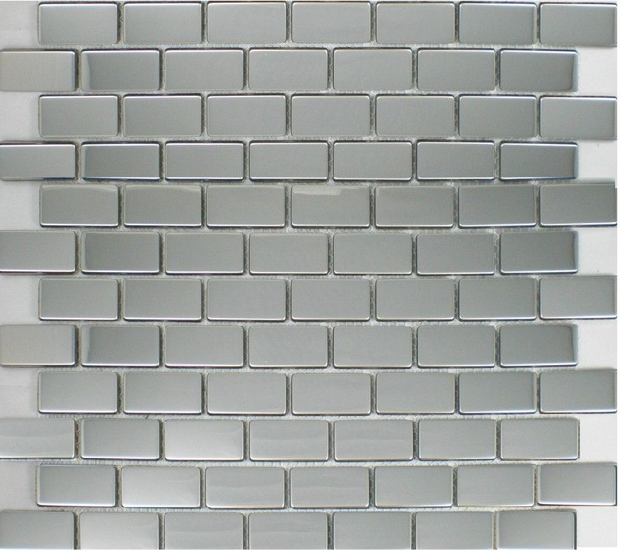 Polish Silver Metallic Mosaic Tile Backsplash Smmt035 Brick