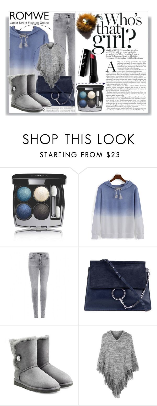 """""""ROMWE"""" by madlenbellucci ❤ liked on Polyvore featuring Chanel, J Brand, Chloé, UGG Australia, Topshop, Kershaw, Garance Doré and Bobbi Brown Cosmetics"""