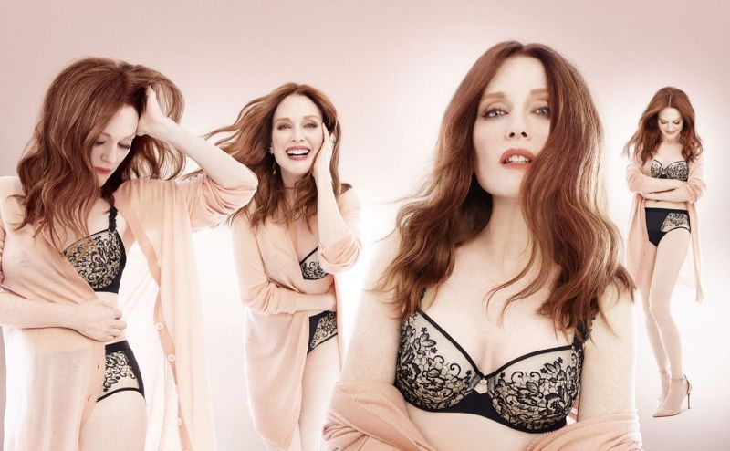 9a6fd25ffbe29 Julianne Moore poses in lingerie for Triumph Florale lingerie fall-winter  2017 campaign
