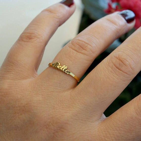 Tiny Name Ring Personalized Gold Name Ring Gold Name Jewelry