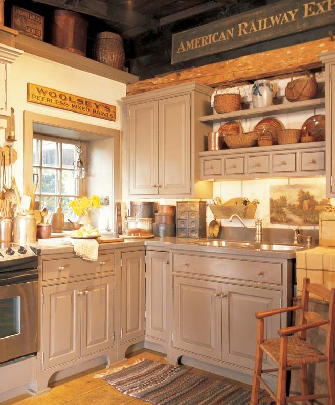 3 ideas for decorating with primitives and folk art for Neutral color kitchen ideas