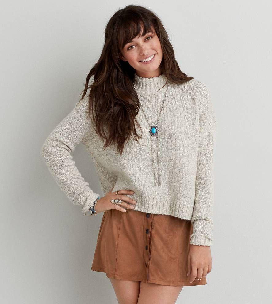 Cream AEO Crop Turtleneck Sweater | style | Pinterest | Aeo ...