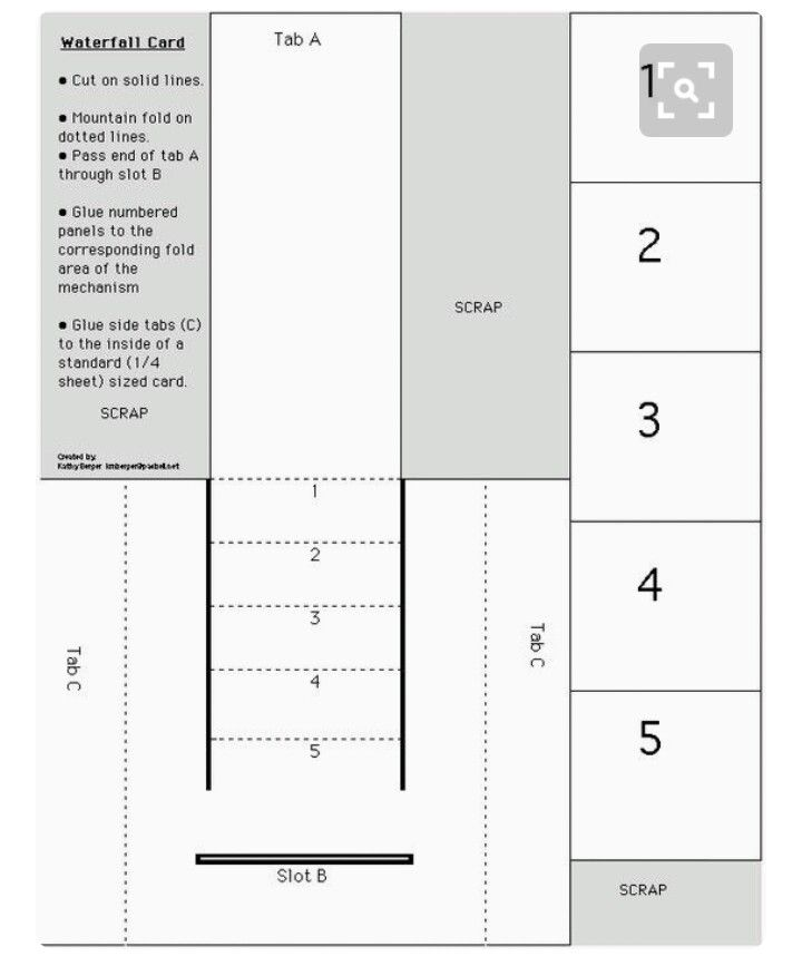 Pin By Barbara Turpin On Papercraft Ideas Waterfall Cards Card Templates Printable Fun Fold Cards