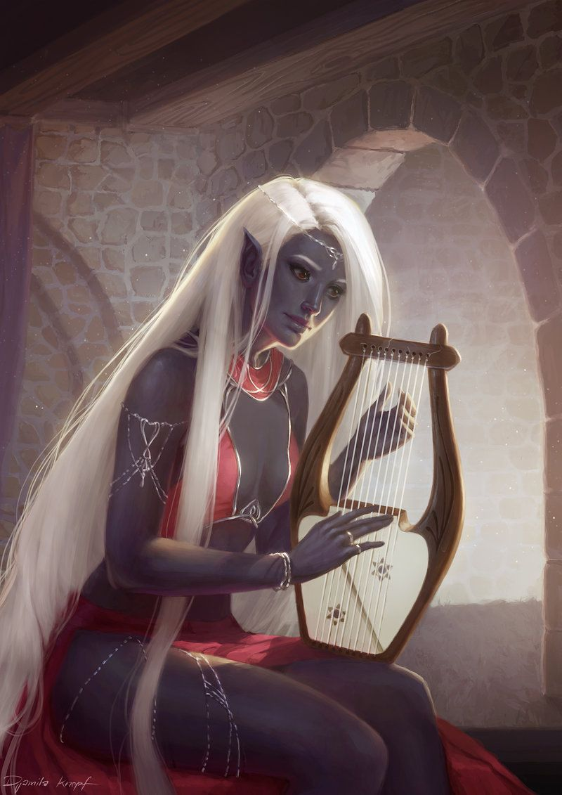 Commission Rugadh Faoi By Shilesque Female Dark Elf Drow Bard