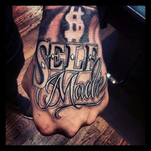 Self Made Money Tattoo Hand Tattoos For Guys Knuckle Tattoos