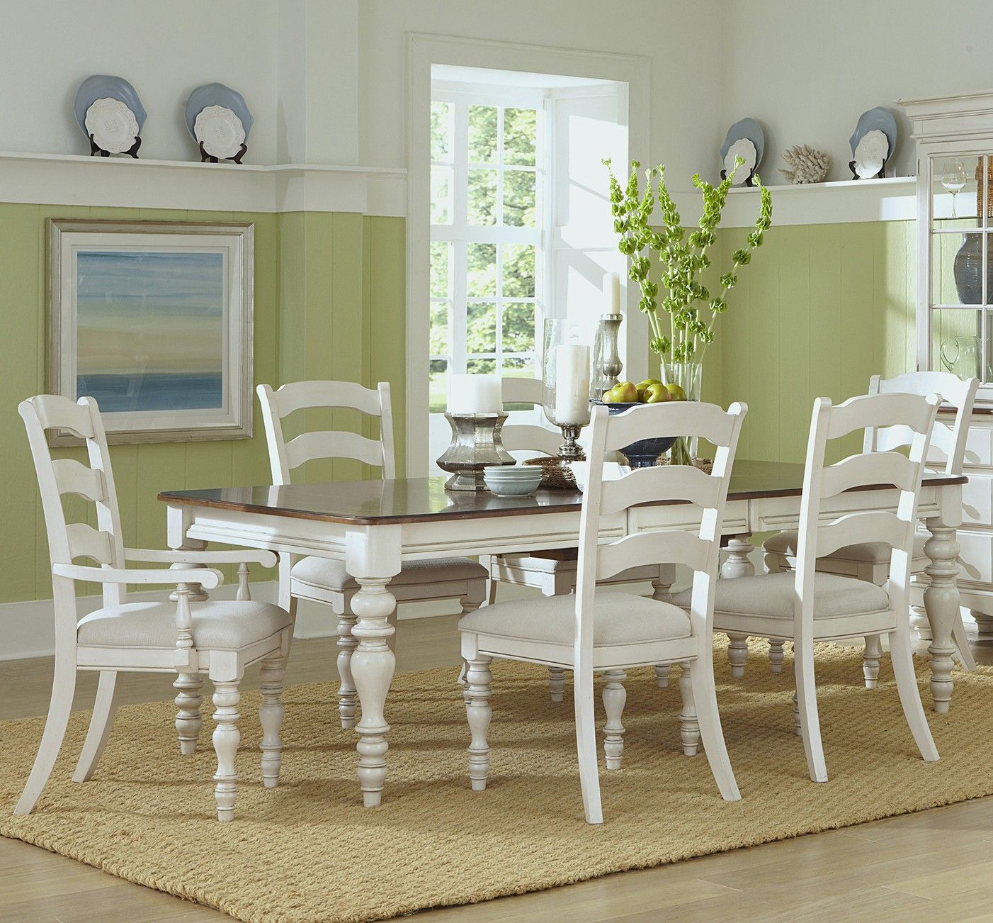 Pine Island Dining Table With Ladder Back Chairs In Old White By Hillsdale Furniture