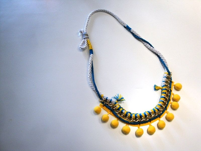 Bright turquoise and yellow pompom necklace by beh1ndbymk on Etsy