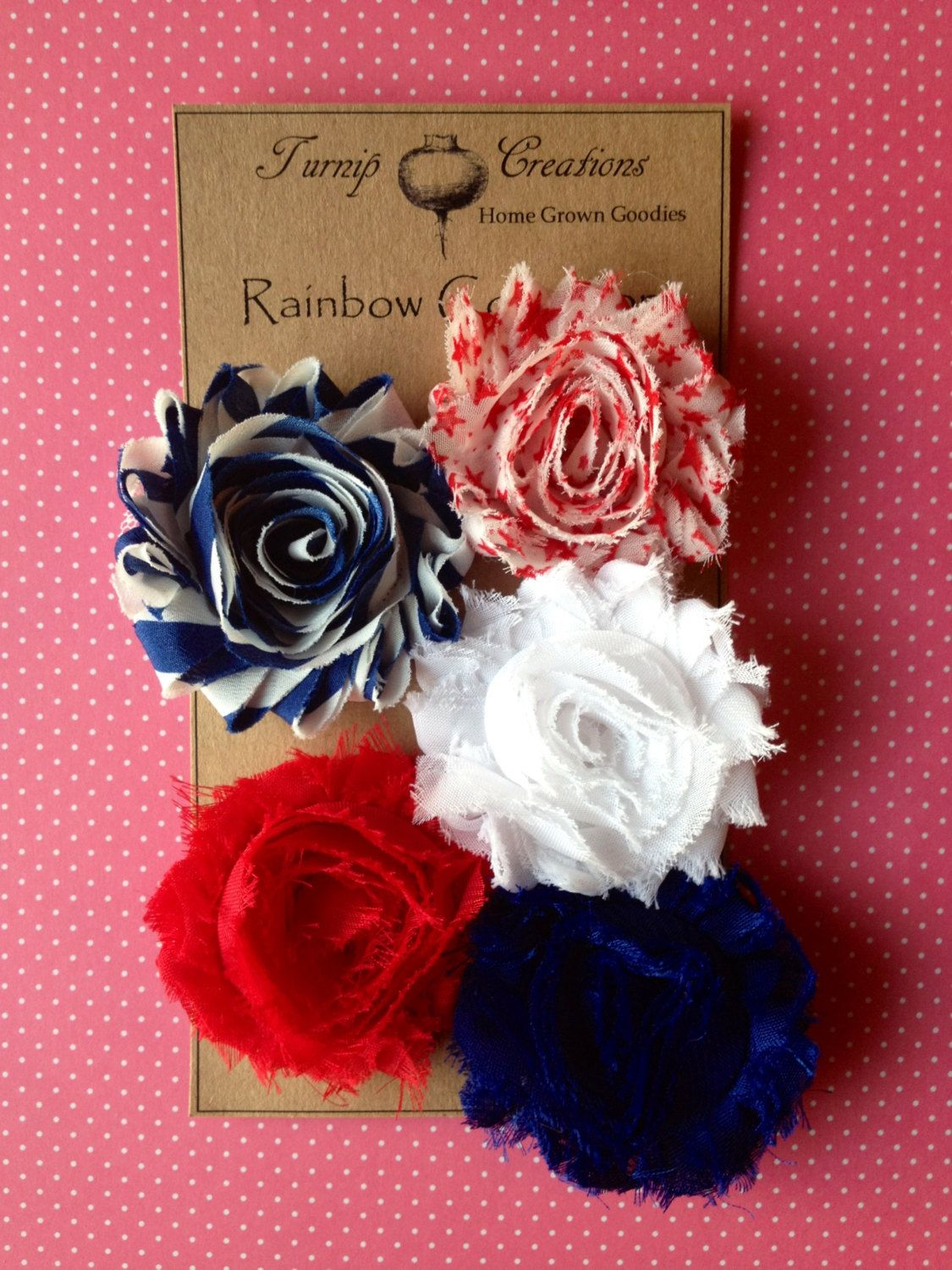 Shabby Frayed Flower Hair Clips th of July Red White Blue Stars