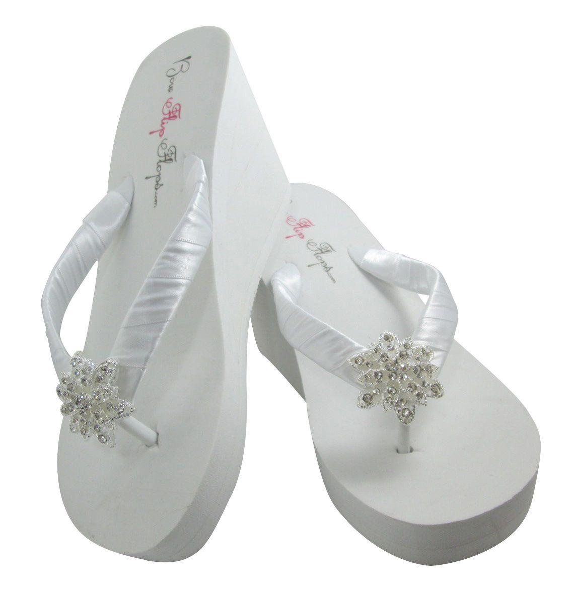 High White Wedge Vintage Flower Flip Flops Bling Wedding Sandals