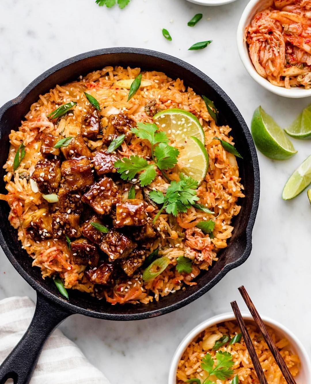 Vegan Recipes On Instagram Kimchi Sriracha Fried Rice With