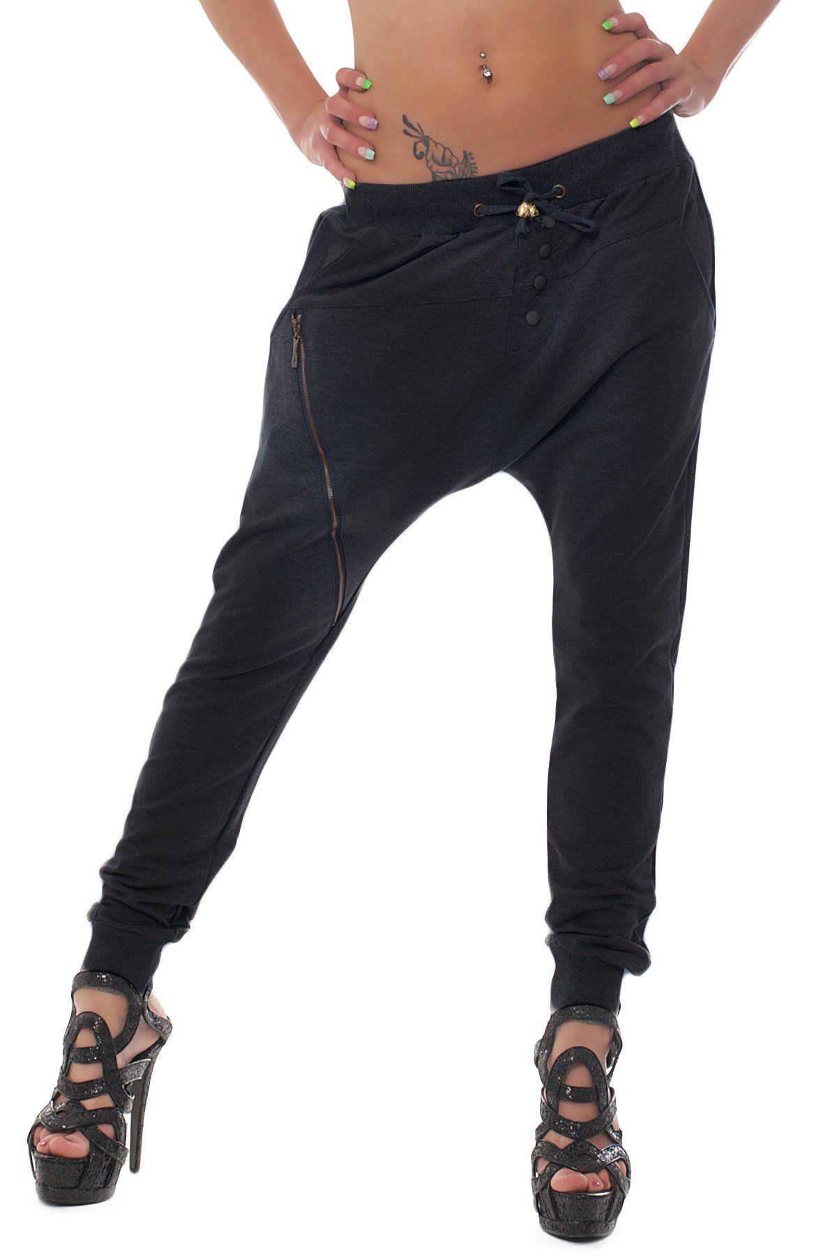Fashion4Young Damen Haremshose Hose pants aus Sweat-Material verfügbar in 5 Größen 2 Farben (S = 36, Schwarz1)