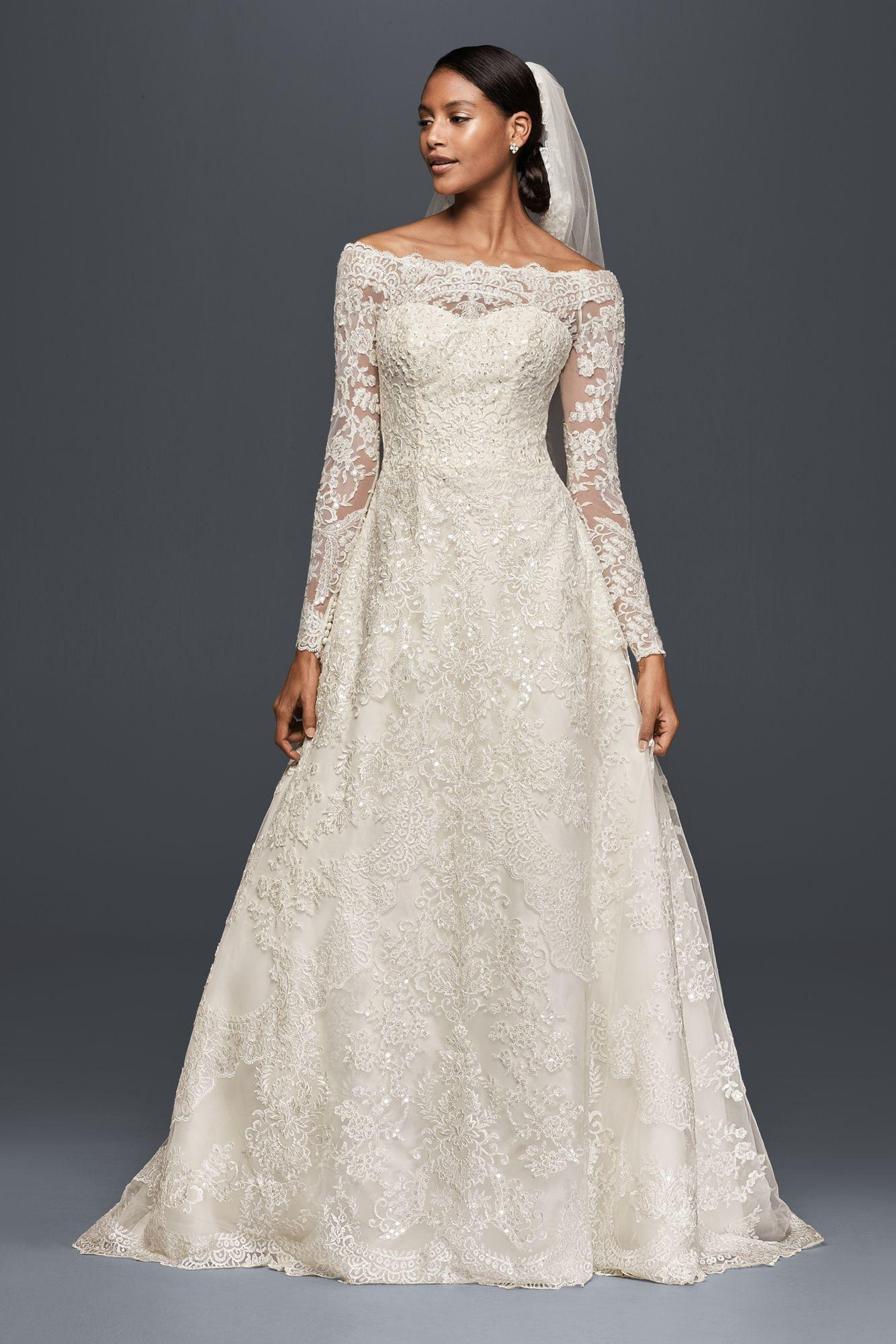 Elegant long sleeve off the shoulder lace appliqued aline cwg
