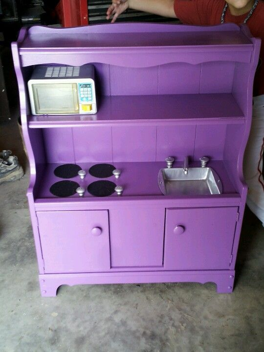 An Old Bookshelf Turned Into A Play Kitchen Sandpaper Burners Small Cake Pan Sink Cabinet S