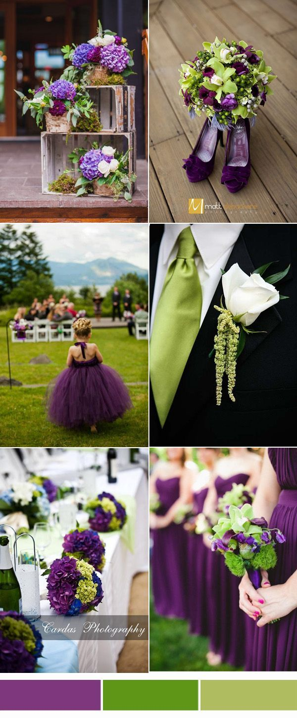 9 Most Popular Wedding Color Schemes From Pinterest To Your Wedding Inspiration Green Wedding Decorations Purple Wedding Bouquets Green Themed Wedding