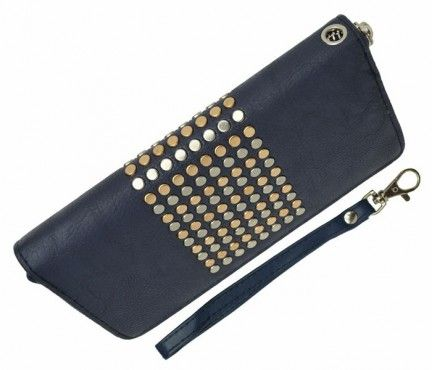 On Trend Studded Wallet - Blue