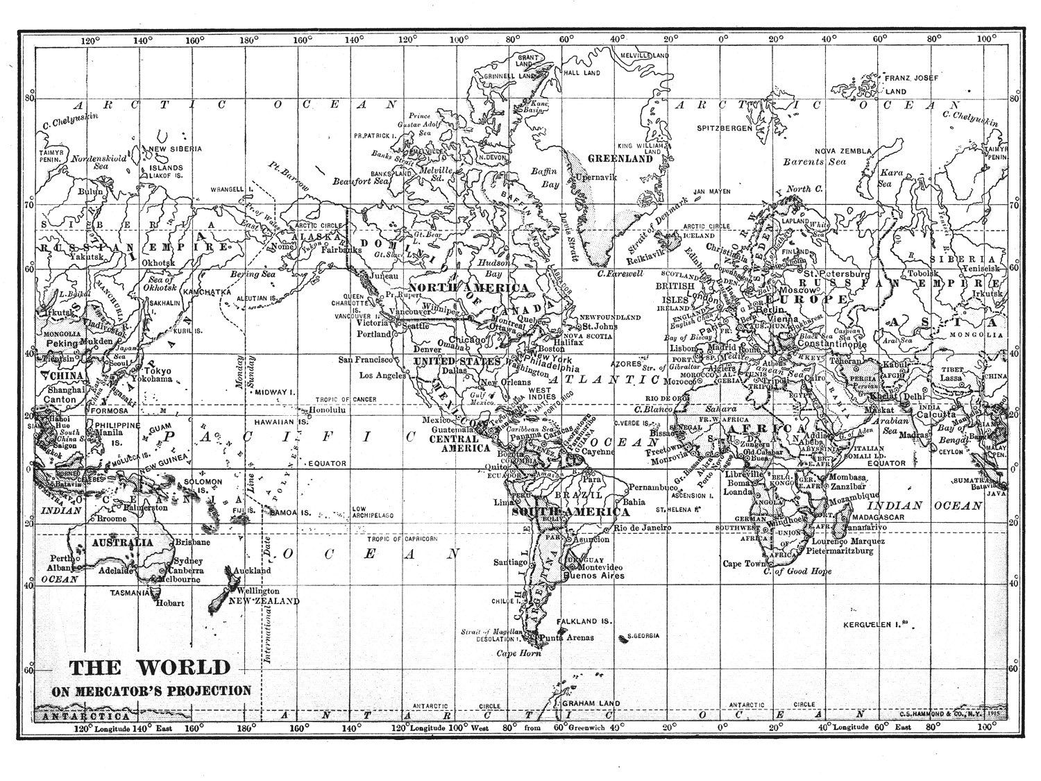Black white world map printable file instant download