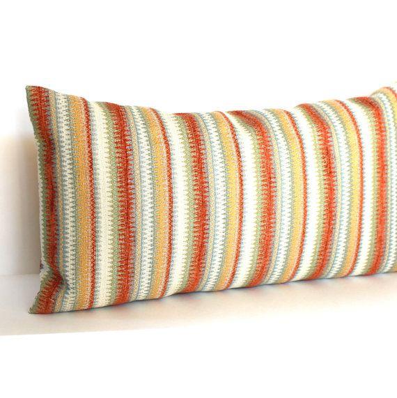 lumbar pillow cover rust pale blue